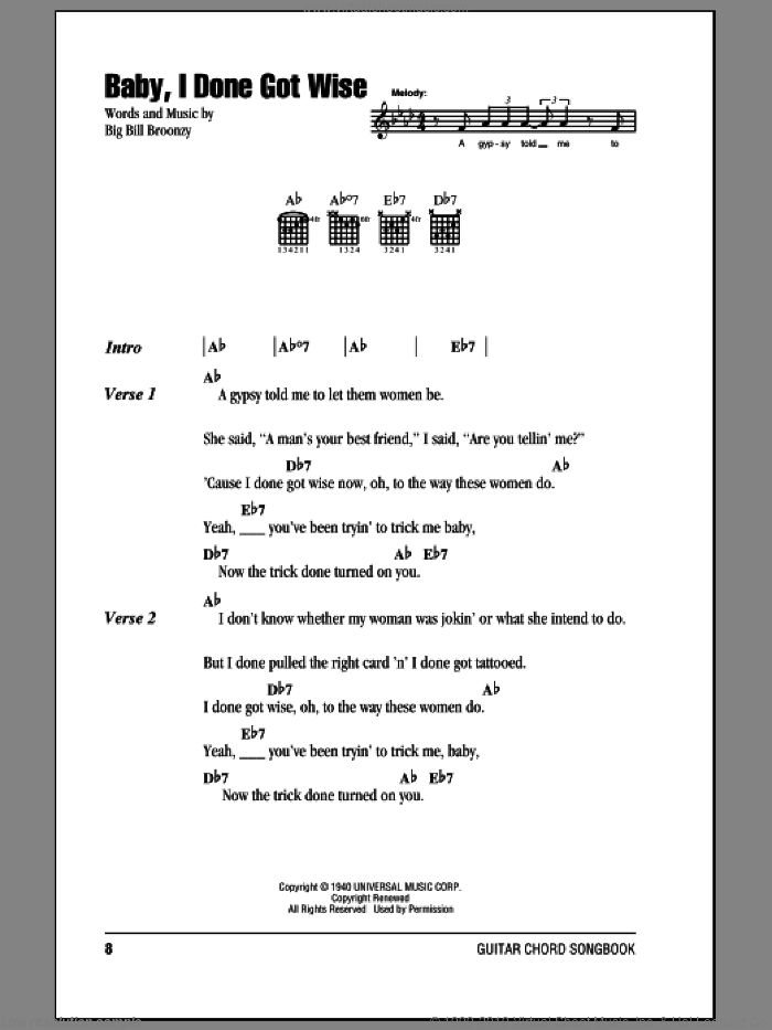 Baby, I Done Got Wise sheet music for guitar (chords) by Big Bill Broonzy