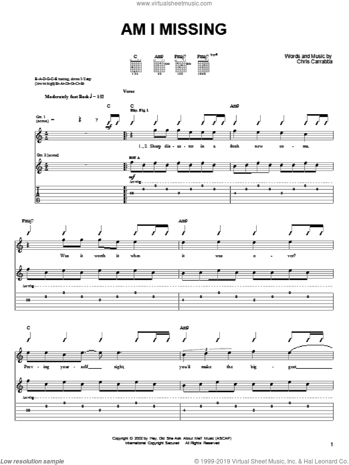 Am I Missing sheet music for guitar (tablature) by Dashboard Confessional and Chris Carrabba, intermediate