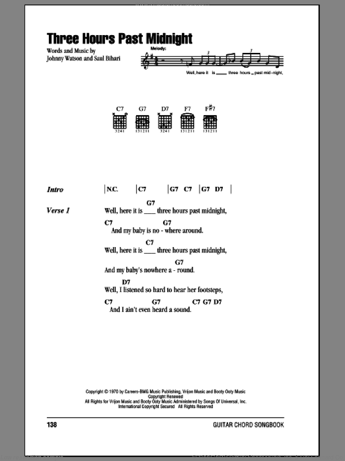 Three Hours Past Midnight sheet music for guitar (chords) by Saul Bihari and Johnny Watson. Score Image Preview.