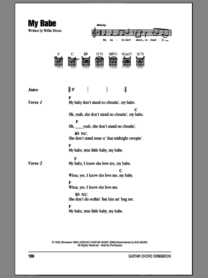 My Babe sheet music for guitar (chords) by Willie Dixon and Little Walter. Score Image Preview.