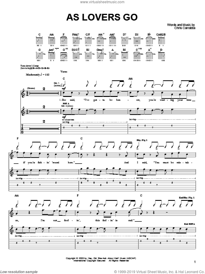As Lovers Go sheet music for guitar (tablature) by Dashboard Confessional and Chris Carrabba, intermediate skill level