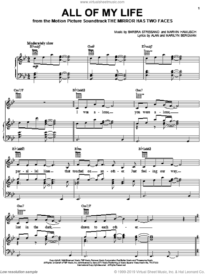 All Of My Life sheet music for voice, piano or guitar by Barbra Streisand, Alan Bergman and Marilyn Bergman, wedding score, intermediate voice, piano or guitar. Score Image Preview.