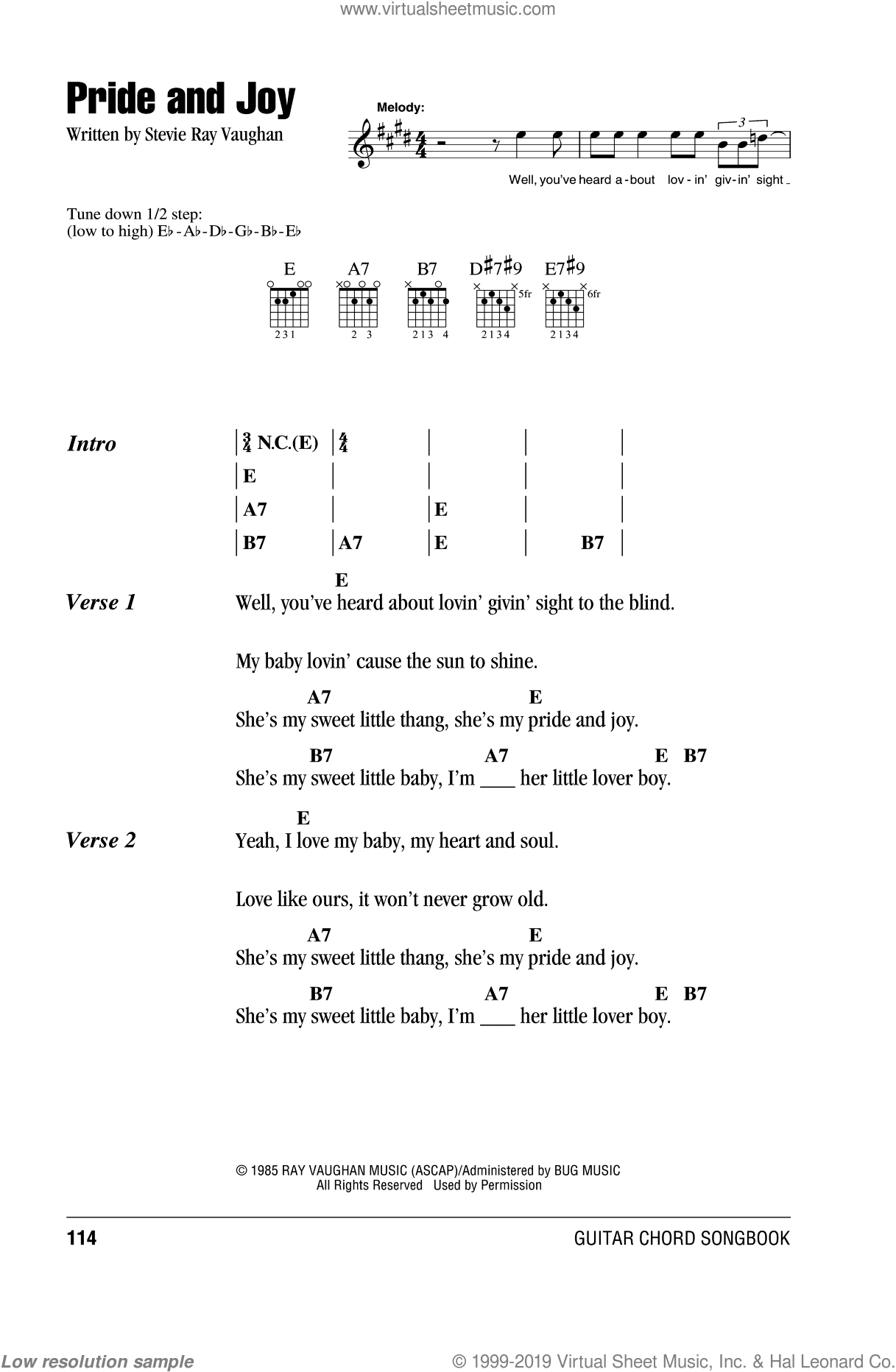 Pride And Joy sheet music for guitar (chords) by Stevie Ray Vaughan, intermediate guitar (chords). Score Image Preview.