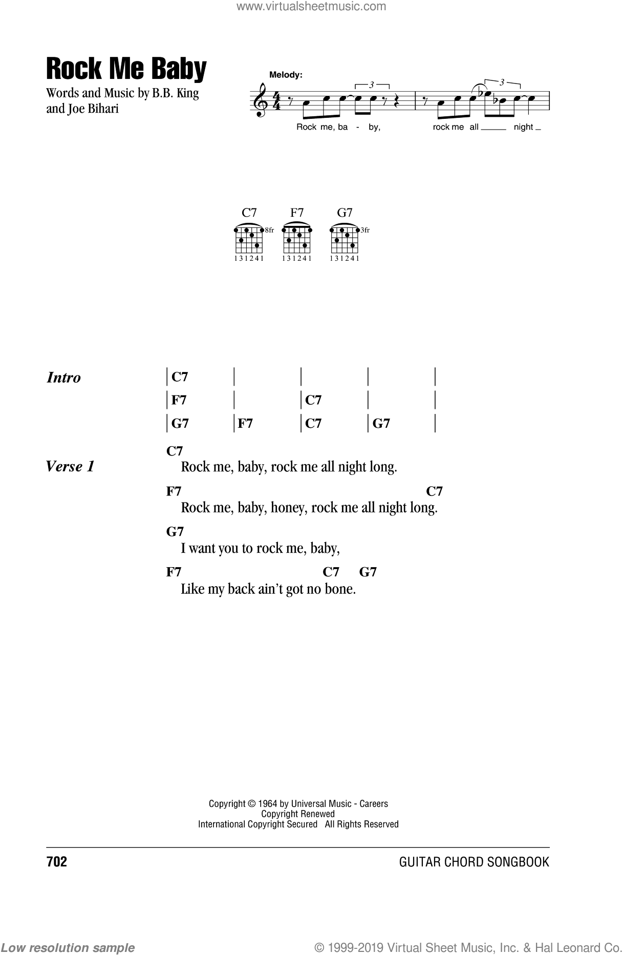 Rock Me Baby sheet music for guitar (chords) by Joe Bihari, Johnny Winter and B.B. King. Score Image Preview.