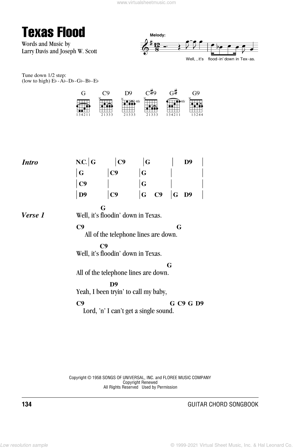 Texas Flood sheet music for guitar (chords) by Stevie Ray Vaughan and Larry Davis, intermediate guitar (chords). Score Image Preview.
