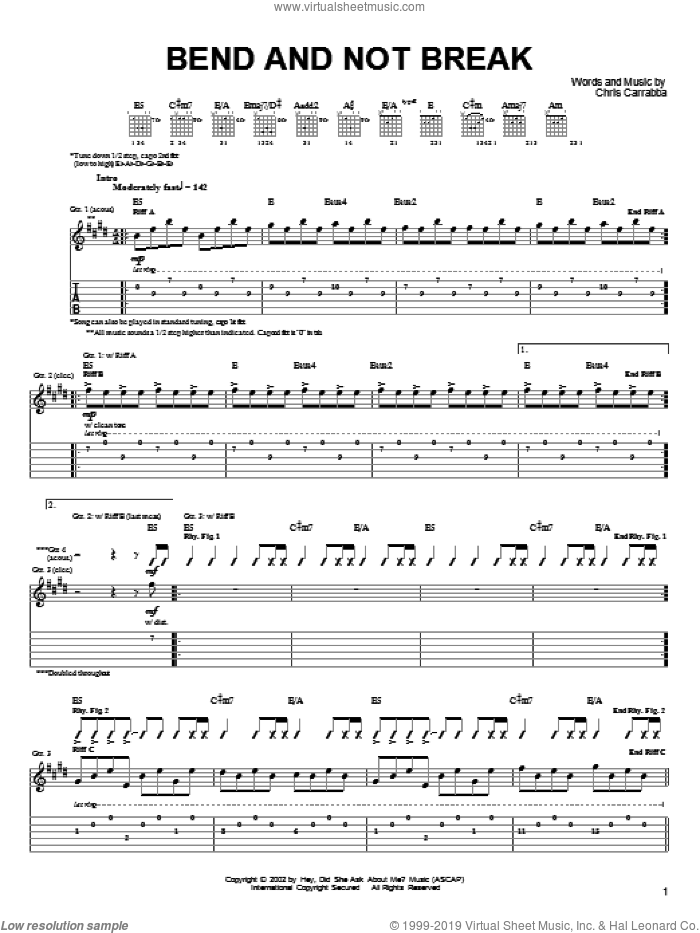 Bend And Not Break sheet music for guitar (tablature) by Chris Carrabba and Dashboard Confessional. Score Image Preview.