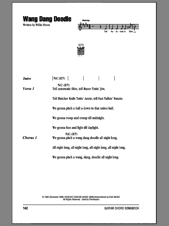 Wang Dang Doodle sheet music for guitar (chords) by Willie Dixon