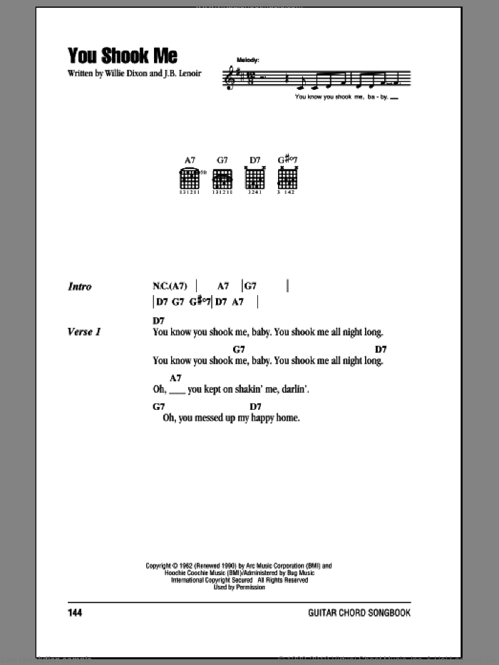 You Shook Me sheet music for guitar (chords) by Jeff Beck, Led Zeppelin, Muddy Waters, J.B. Lenoir and Willie Dixon, intermediate skill level