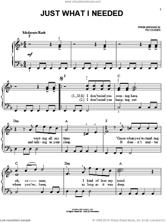 Just What I Needed sheet music for piano solo by Ric Ocasek