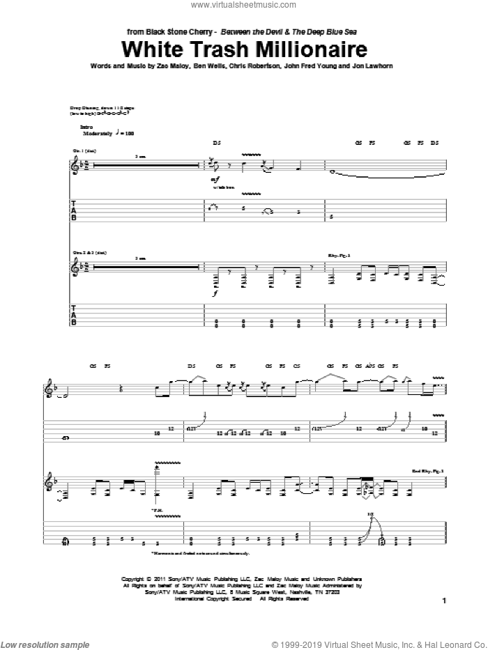 White Trash Millionaire sheet music for guitar (tablature) by Black Stone Cherry and Zac Maloy. Score Image Preview.