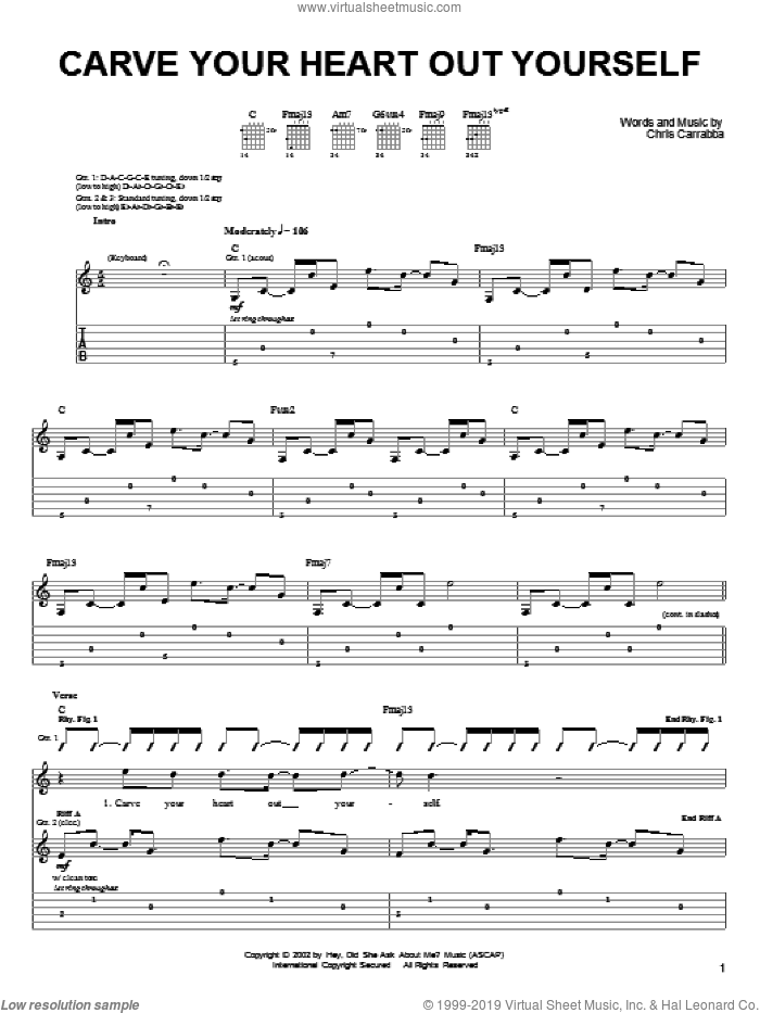 Carve Your Heart Out Yourself sheet music for guitar (tablature) by Dashboard Confessional and Chris Carrabba, intermediate