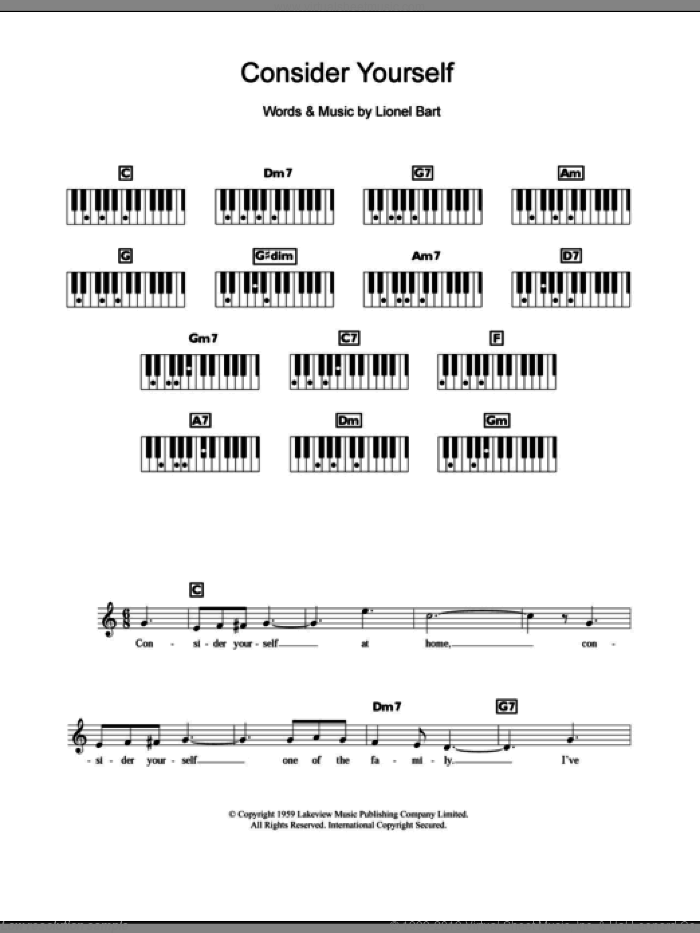Consider Yourself sheet music for piano solo (chords, lyrics, melody) by Lionel Bart and Oliver! (Musical), intermediate piano (chords, lyrics, melody)