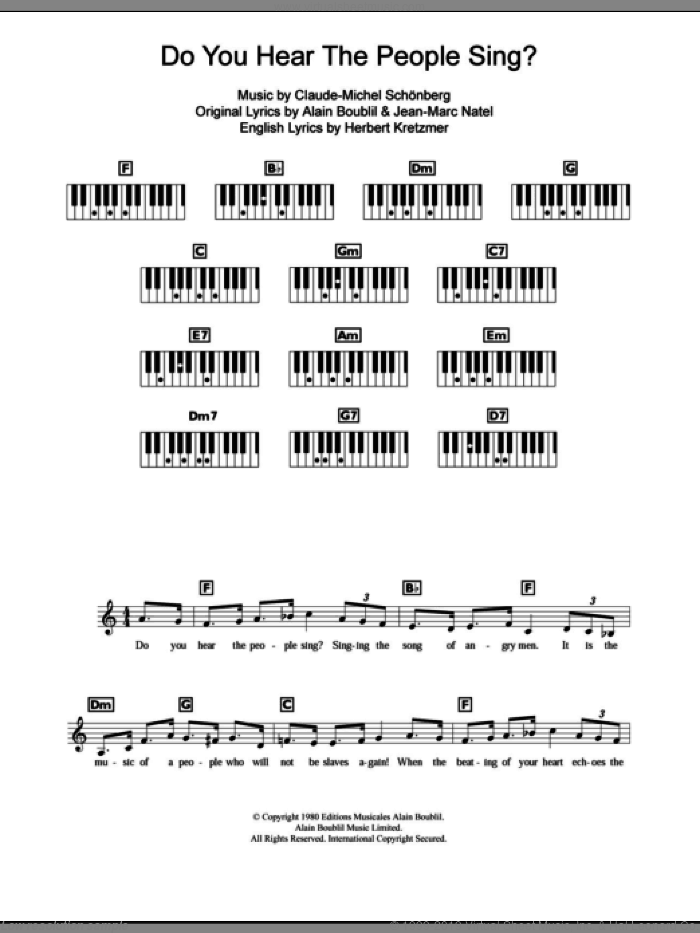 Do You Hear The People Sing? sheet music for piano solo (chords, lyrics, melody) by Alain Boublil, Les Miserables (Musical), Claude-Michel Schonberg, Herbert Kretzmer and Jean-Marc Natel, intermediate piano (chords, lyrics, melody)