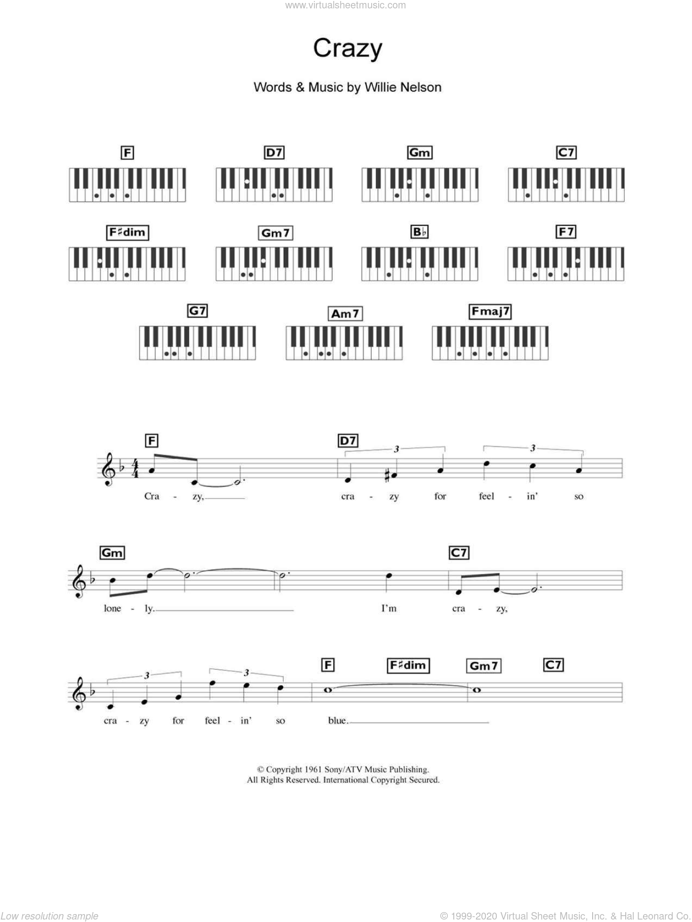 Crazy sheet music for piano solo (chords, lyrics, melody) by Willie Nelson, Diana Krall and Patsy Cline, intermediate piano (chords, lyrics, melody)