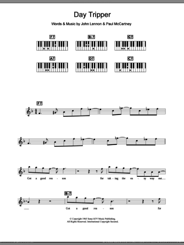 Day Tripper sheet music for piano solo (chords, lyrics, melody) by The Beatles, John Lennon and Paul McCartney, intermediate piano (chords, lyrics, melody)