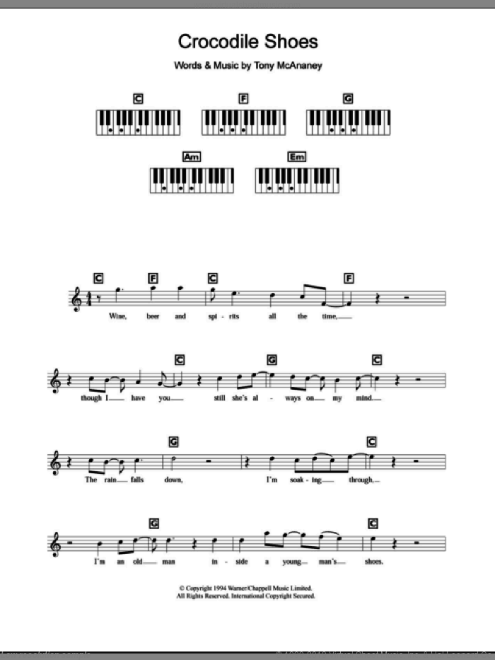 Crocodile Shoes sheet music for piano solo (chords, lyrics, melody) by Jimmy Nail, intermediate piano (chords, lyrics, melody). Score Image Preview.