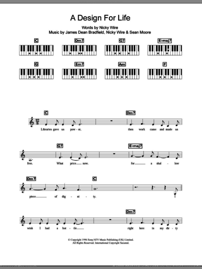 A Design For Life sheet music for piano solo (chords, lyrics, melody) by Sean Moore, Manic Street Preachers and James Dean Bradfield. Score Image Preview.