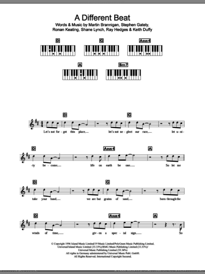 A Different Beat sheet music for piano solo (chords, lyrics, melody) by Boyzone, Ronan Keating and Stephen Gately, intermediate piano (chords, lyrics, melody). Score Image Preview.