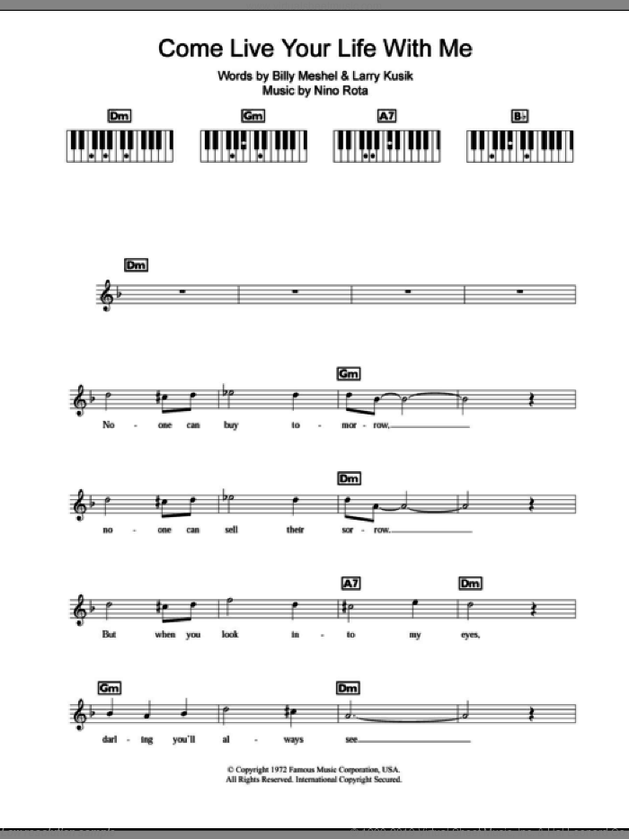 Come Live Your Life With Me (The Godfather Waltz) sheet music for piano solo (chords, lyrics, melody) by Nino Rota, Peter Cincotti, Billy Meshel and Larry Kusik, intermediate piano (chords, lyrics, melody)