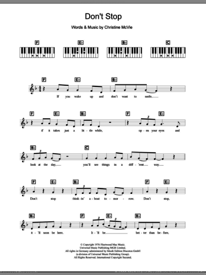 Don't Stop sheet music for piano solo (chords, lyrics, melody) by Fleetwood Mac and Christine McVie, intermediate piano (chords, lyrics, melody)