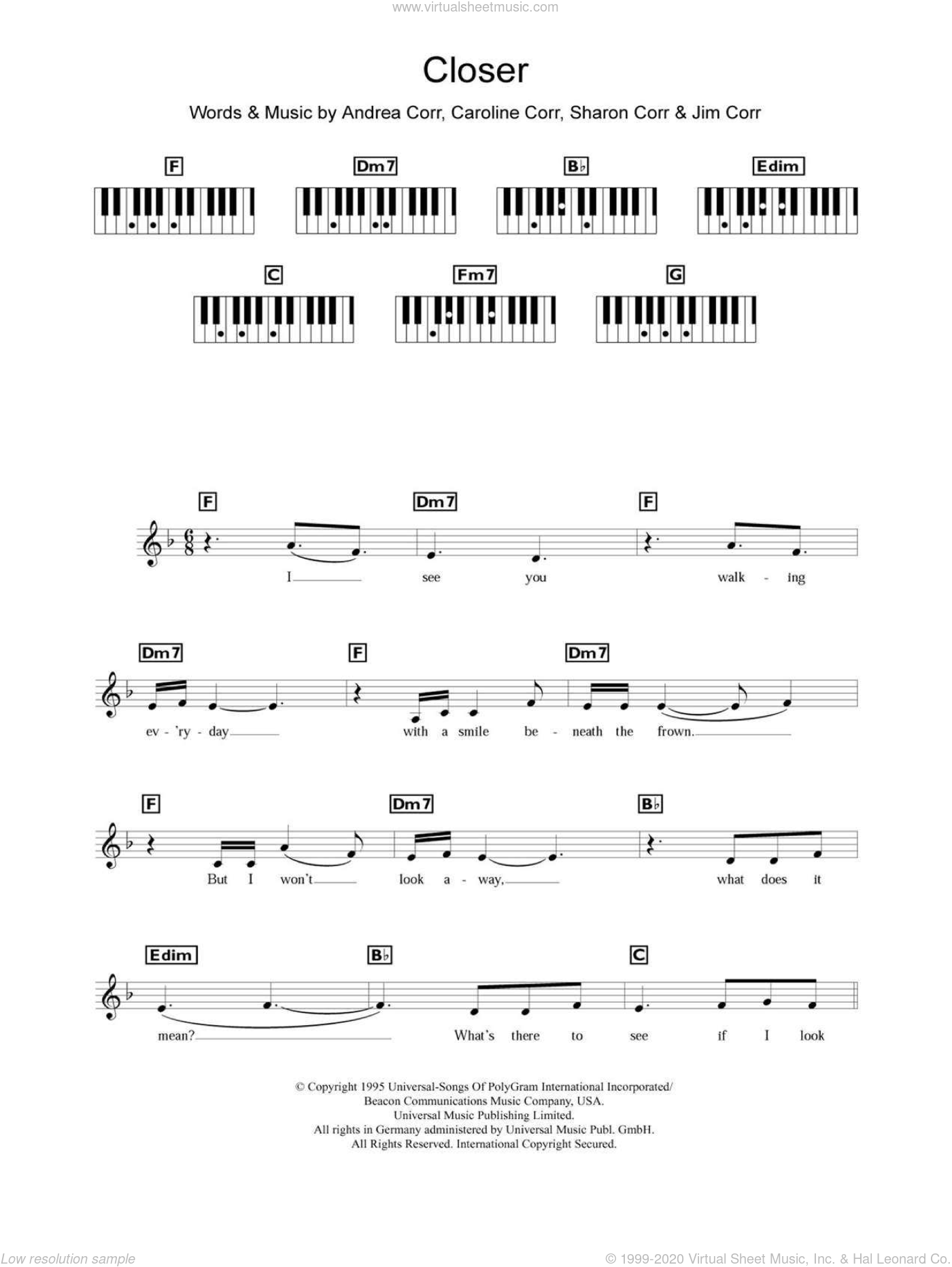 Closer sheet music for piano solo (chords, lyrics, melody) by Sharon Corr