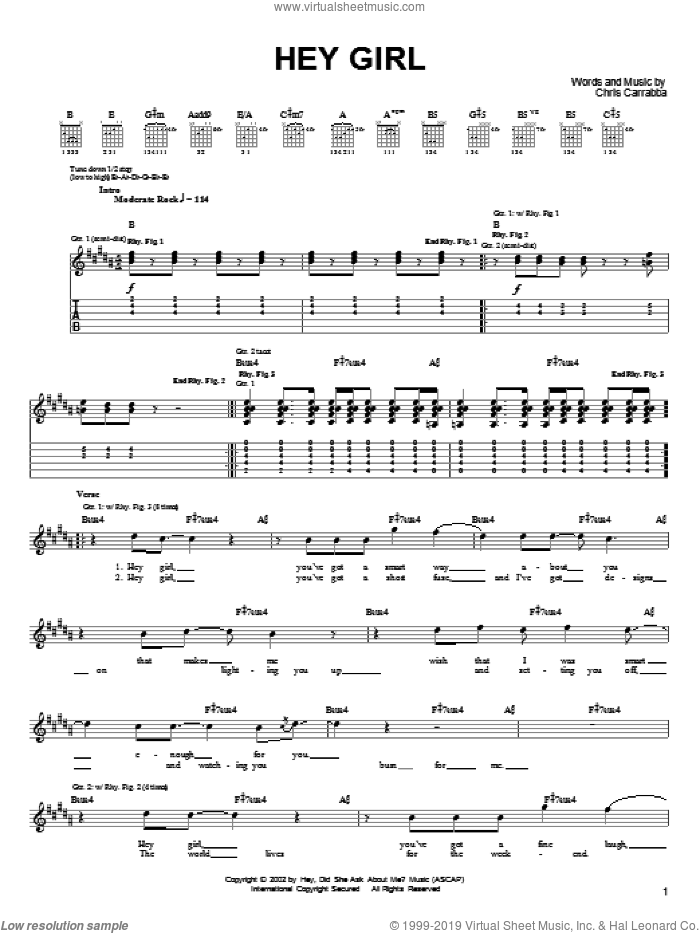 Hey Girl sheet music for guitar (tablature) by Chris Carrabba and Dashboard Confessional. Score Image Preview.