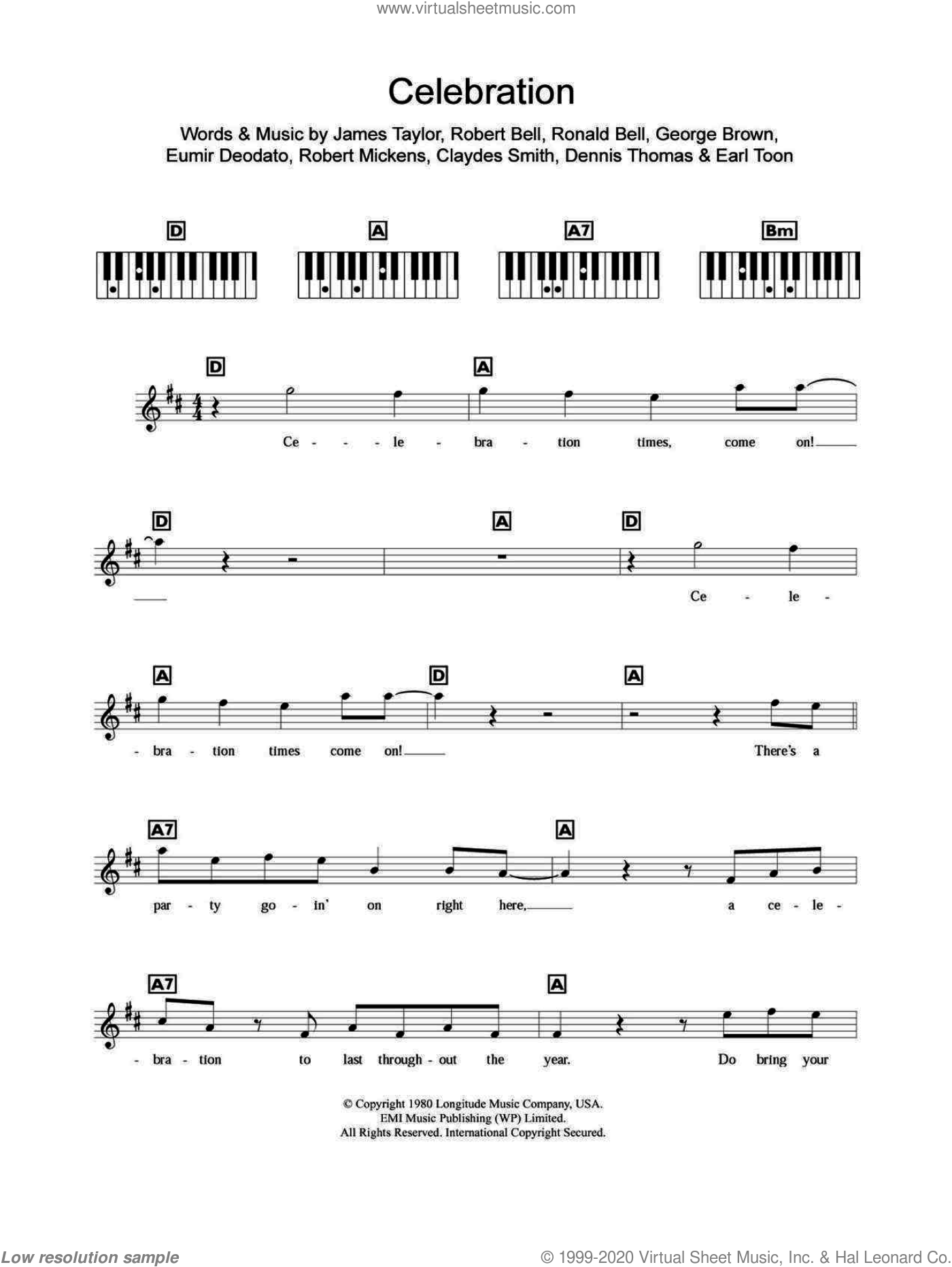 Celebration sheet music for piano solo (chords, lyrics, melody) by Kool And The Gang, Claydes Smith, Dennis Thomas, Earl Toon, Eumir Deodato, George Brown, James Taylor, Robert Bell, Robert Mickens and Ronald Bell, intermediate piano (chords, lyrics, melody)