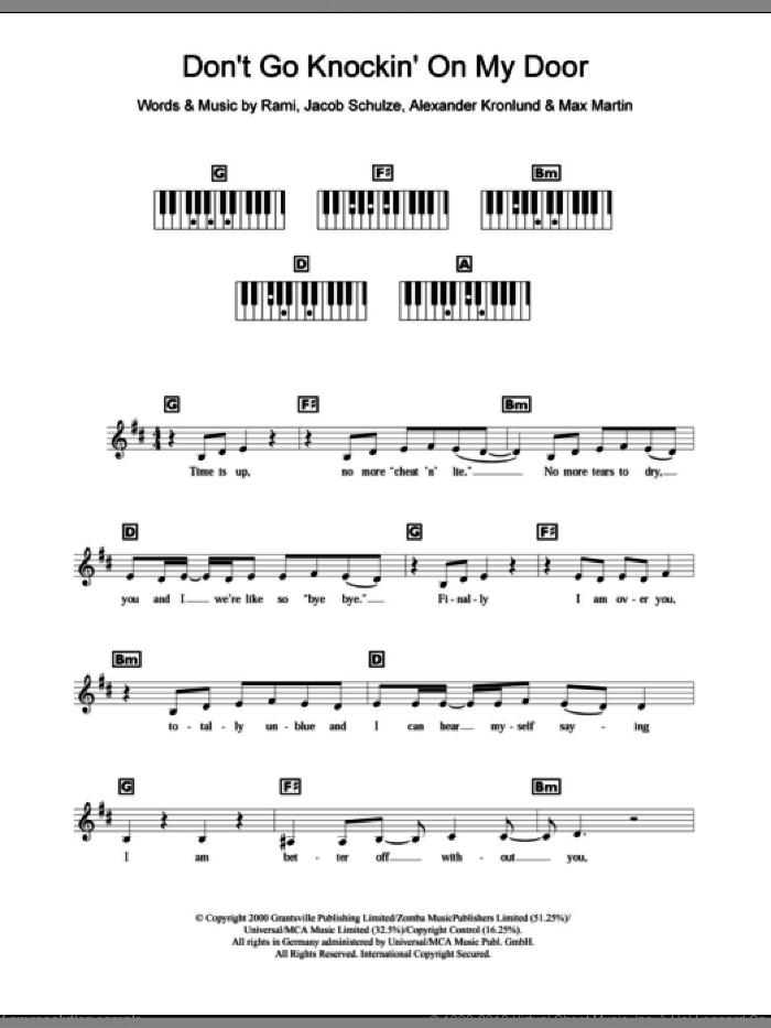 Don't Go Knockin' On My Door sheet music for piano solo (chords, lyrics, melody) by Rami