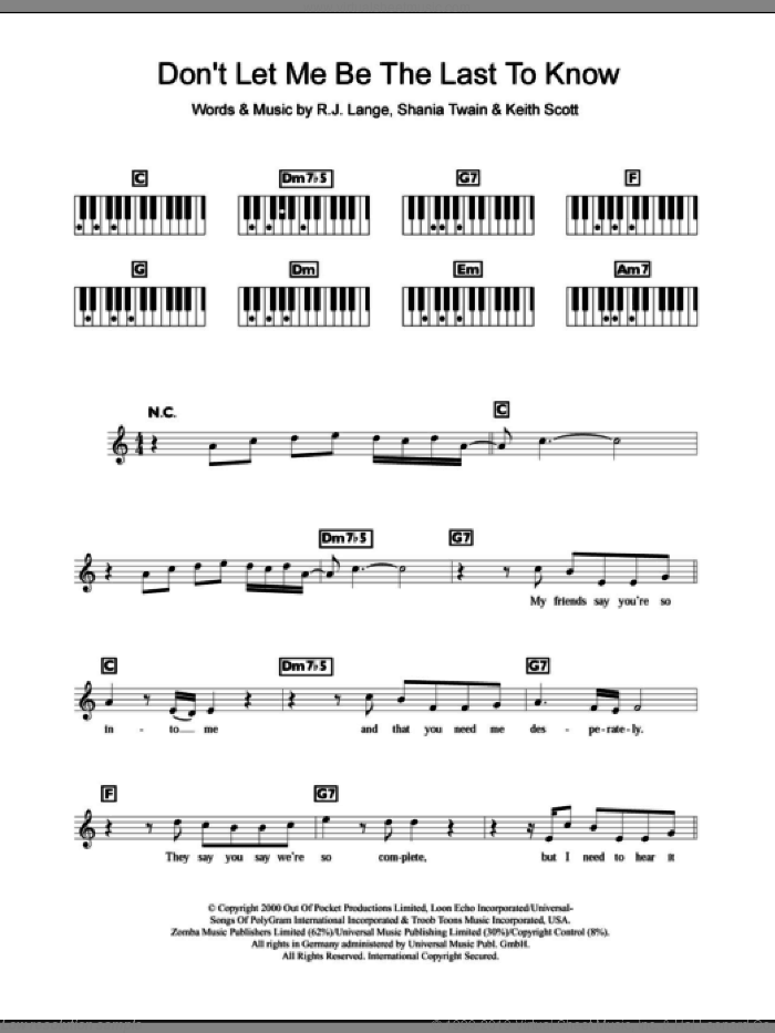 Don't Let Me Be The Last To Know sheet music for piano solo (chords, lyrics, melody) by Britney Spears, Keith Scott, Robert John Lange and Shania Twain, intermediate piano (chords, lyrics, melody)