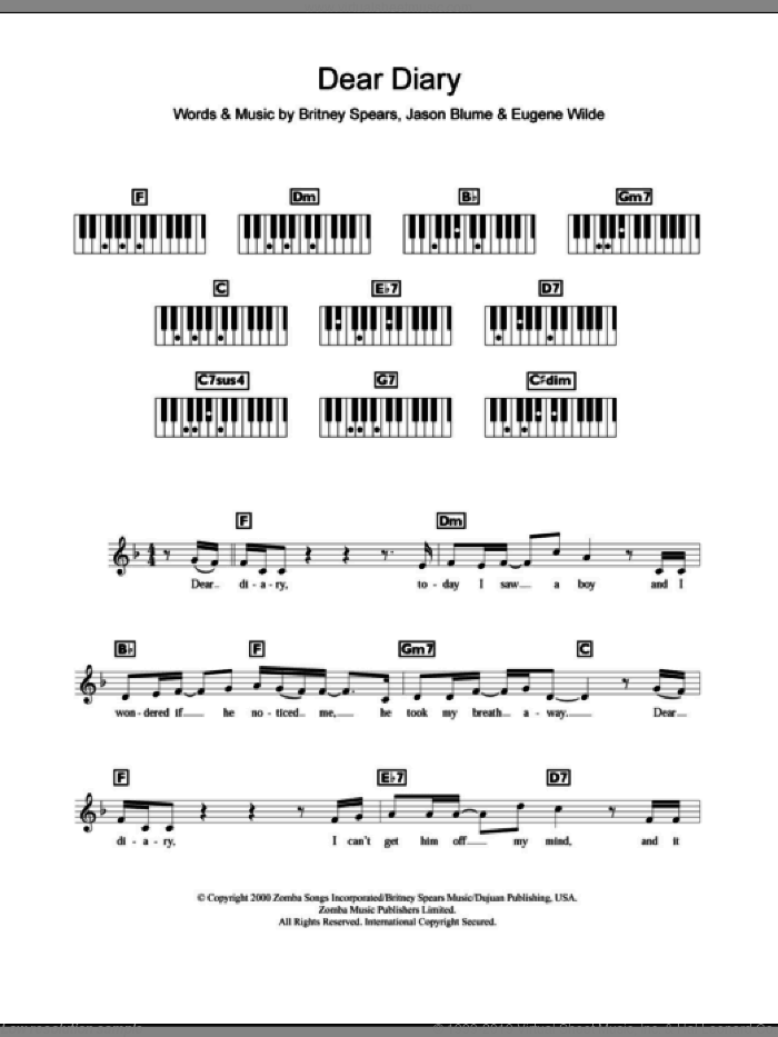 Dear Diary sheet music for piano solo (chords, lyrics, melody) by Jason Blume, Britney Spears and Eugene Wilde. Score Image Preview.