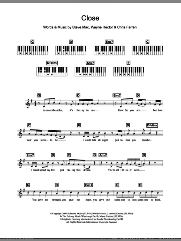 Close sheet music for piano solo (chords, lyrics, melody) by Wayne Hector