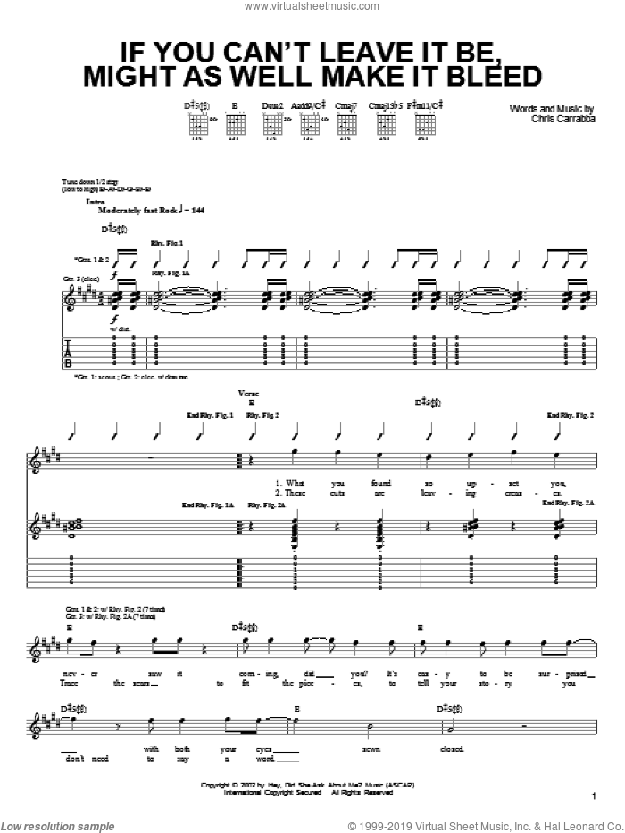 If You Can't Leave It Be, Might As Well Make It Bleed sheet music for guitar (tablature) by Chris Carrabba and Dashboard Confessional. Score Image Preview.