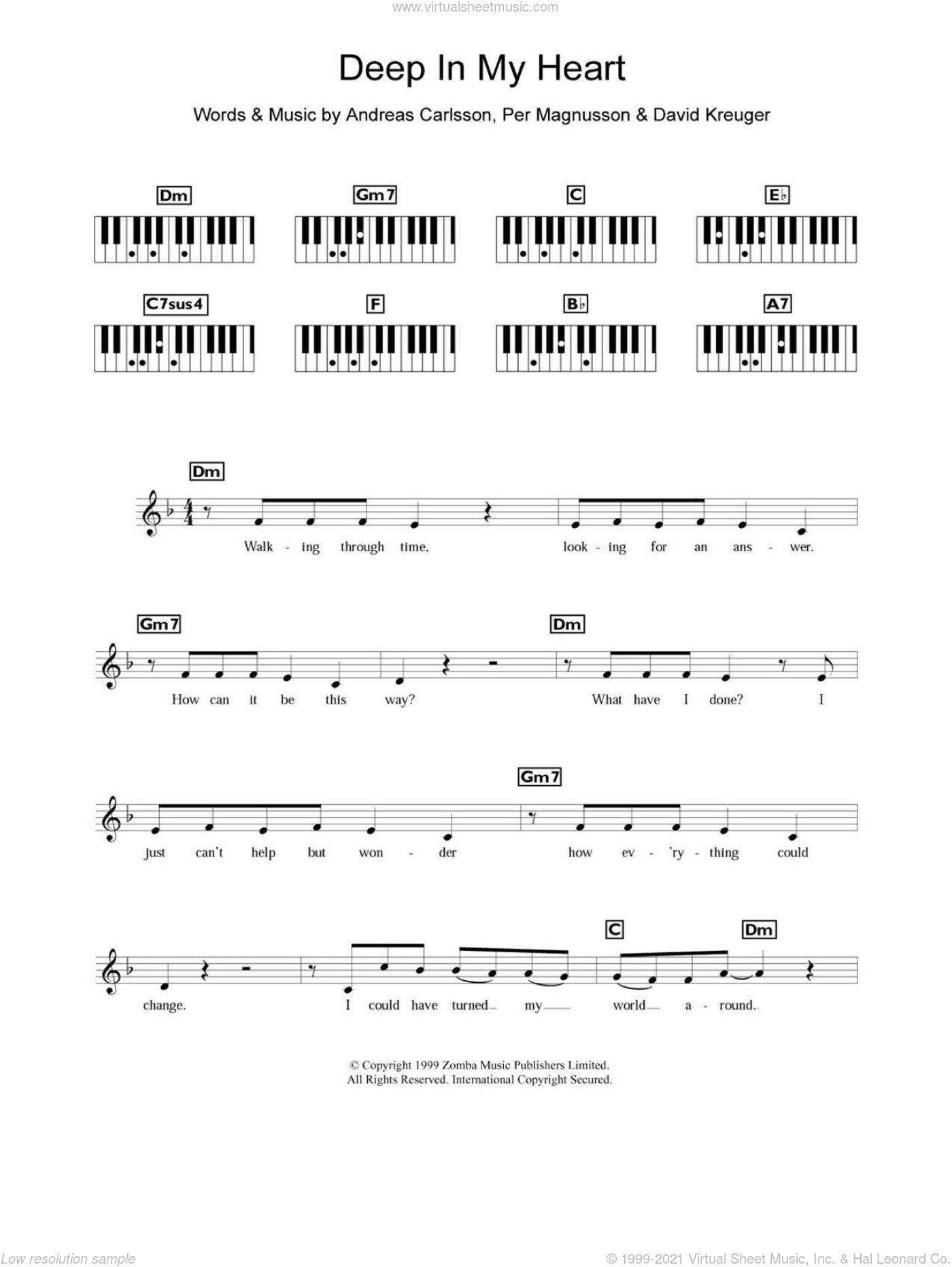 Deep In My Heart sheet music for piano solo (chords, lyrics, melody) by Britney Spears, Andreas Carlsson, David Kreuger and Per Magnusson, intermediate piano (chords, lyrics, melody)