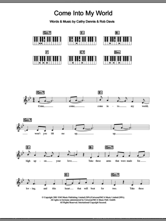 Come Into My World sheet music for piano solo (chords, lyrics, melody) by Rob Davis, Kylie Minogue and Cathy Dennis. Score Image Preview.