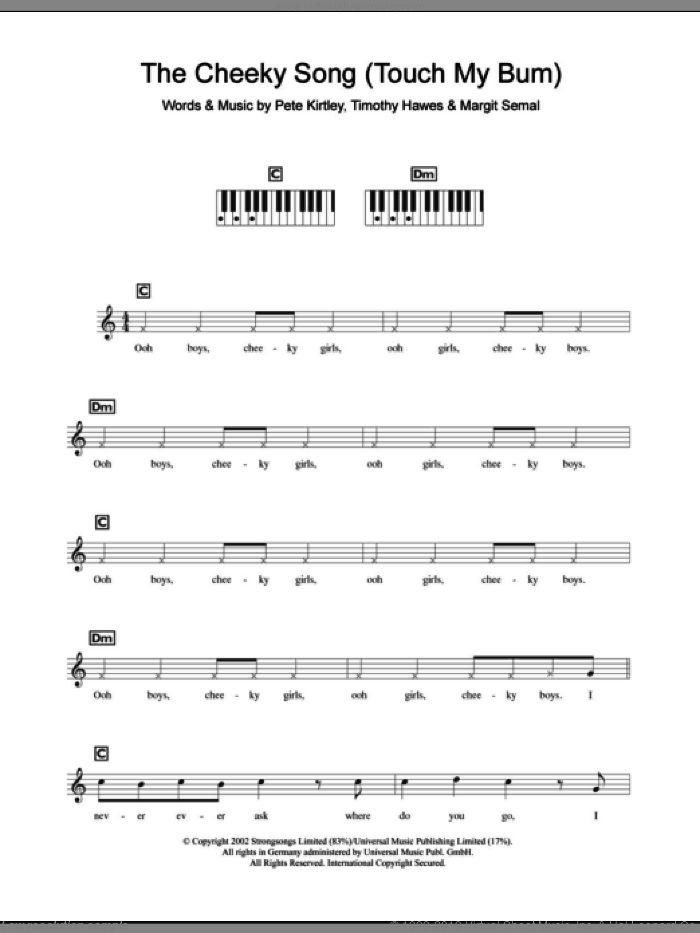 The Cheeky Song (Touch My Bum) sheet music for piano solo (chords, lyrics, melody) by Tim Hawes. Score Image Preview.