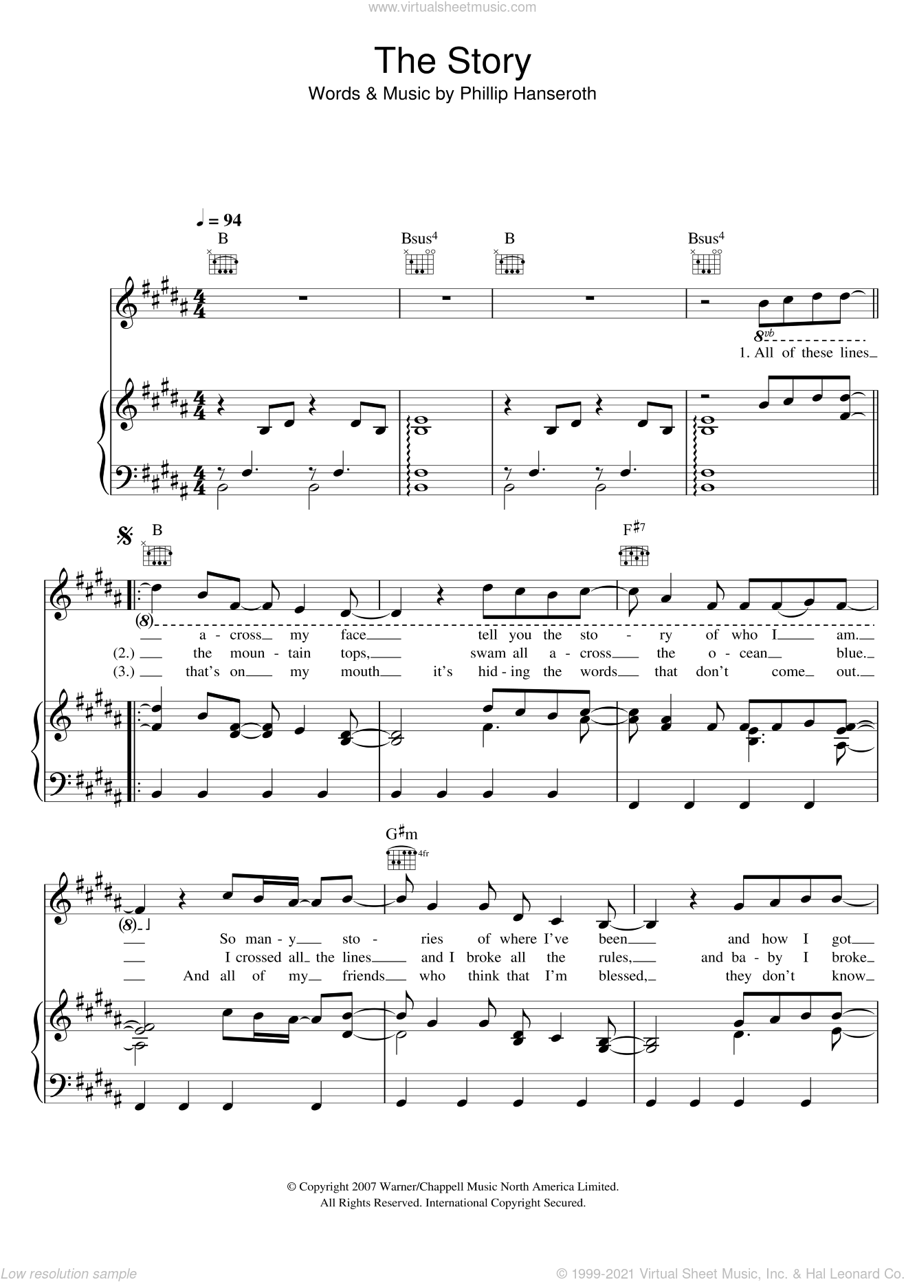 The Story sheet music for voice, piano or guitar by Brandi Carlile and Phillip Hanseroth, intermediate skill level