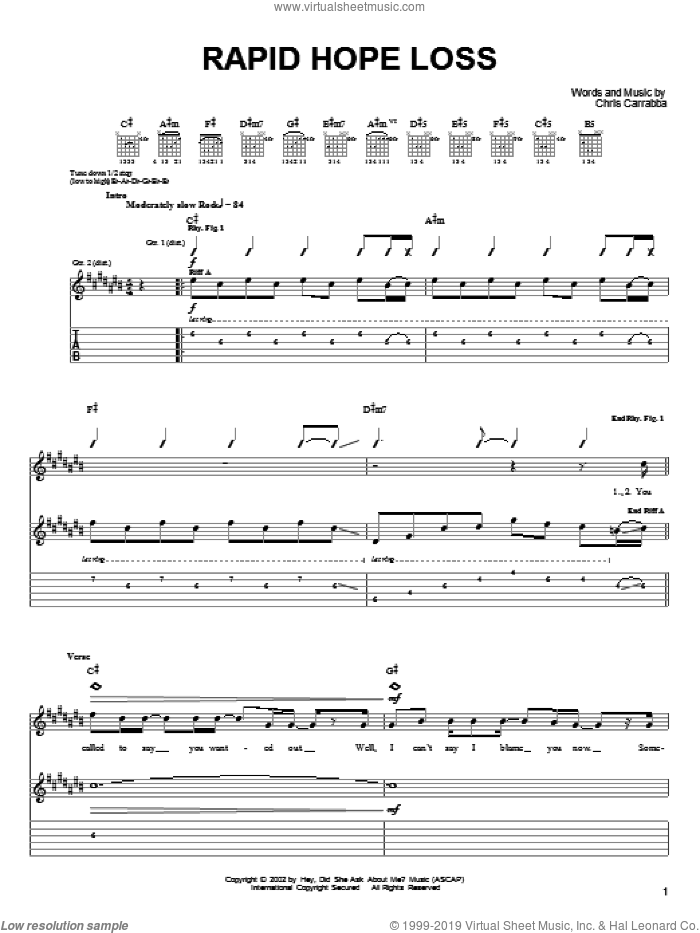 Rapid Hope Loss sheet music for guitar (tablature) by Chris Carrabba and Dashboard Confessional. Score Image Preview.
