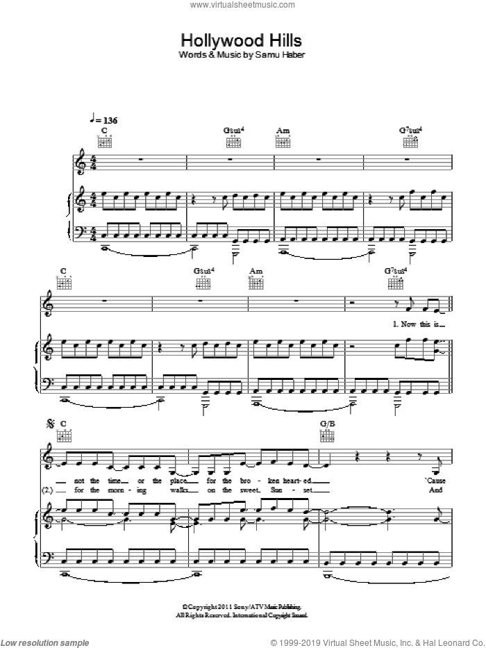 Hollywood Hills sheet music for voice and piano by Sunrise Avenue. Score Image Preview.