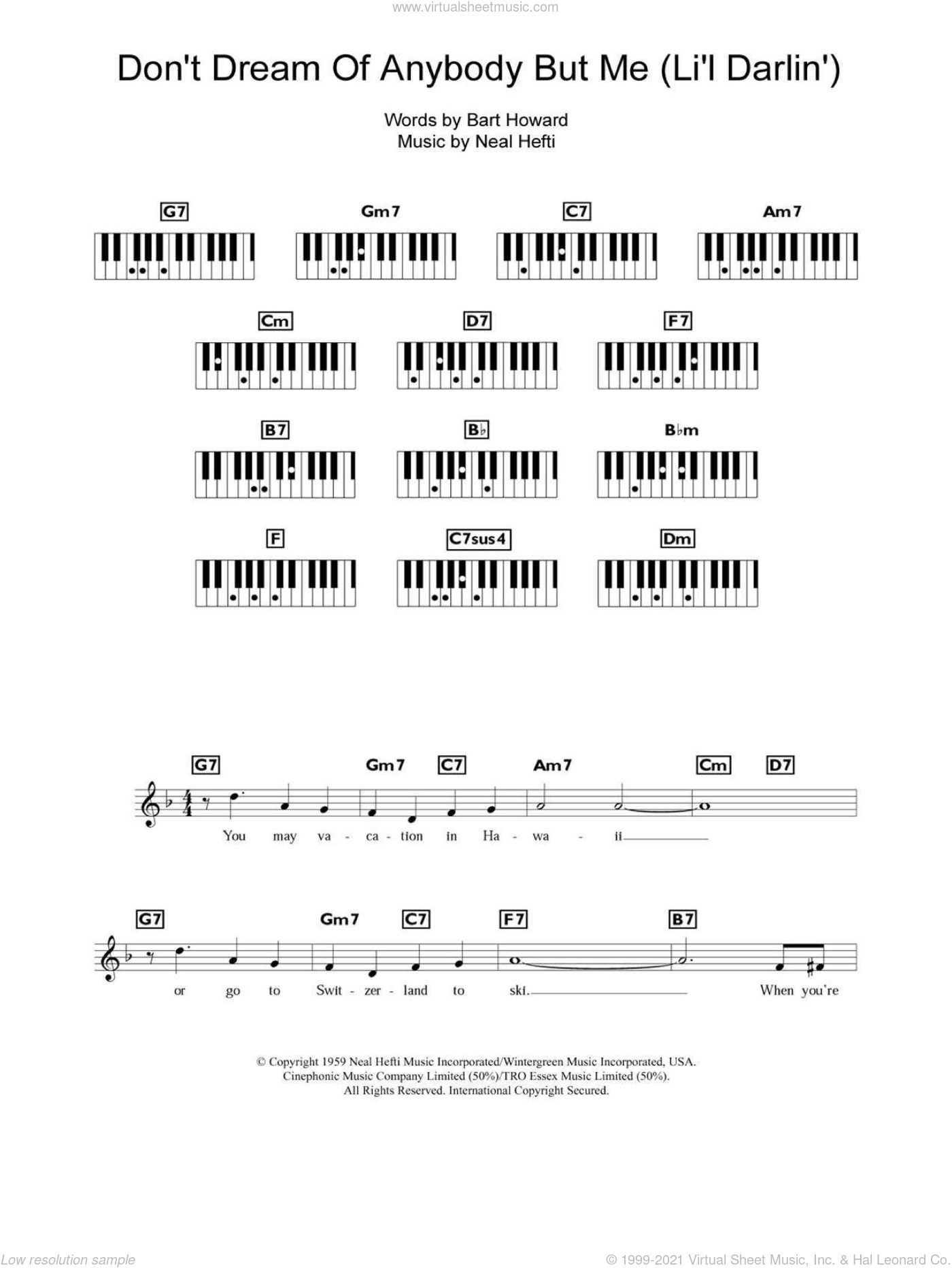 Don't Dream Of Anybody But Me (Li'l Darlin') sheet music for piano solo (chords, lyrics, melody) by Bobby Darin, Bart Howard and Neal Hefti, intermediate piano (chords, lyrics, melody). Score Image Preview.