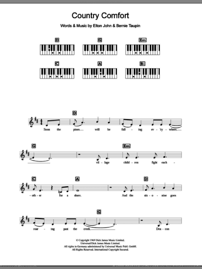 Country Comfort sheet music for piano solo (chords, lyrics, melody) by Bernie Taupin and Elton John. Score Image Preview.