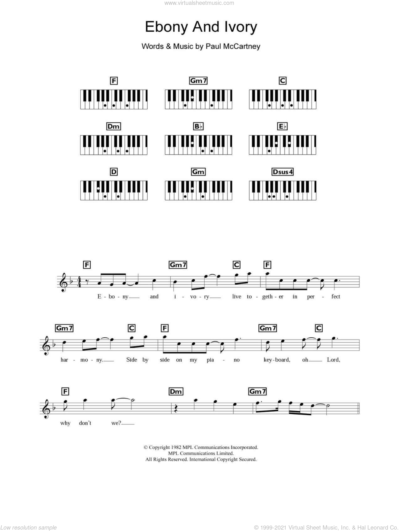Ebony And Ivory sheet music for piano solo (chords, lyrics, melody) by Paul McCartney and Stevie Wonder