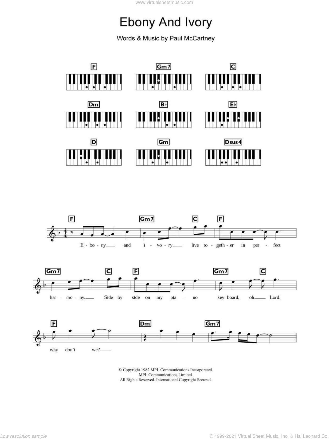 Ebony and ivory chords