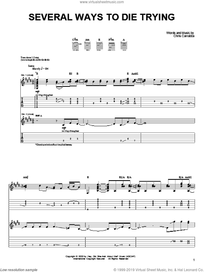 Several Ways To Die Trying sheet music for guitar (tablature) by Dashboard Confessional. Score Image Preview.