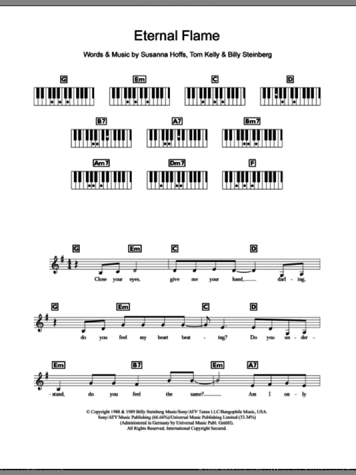 Eternal Flame sheet music for piano solo (chords, lyrics, melody) by Tom Kelly, Atomic Kitten, The Bangles and Billy Steinberg. Score Image Preview.