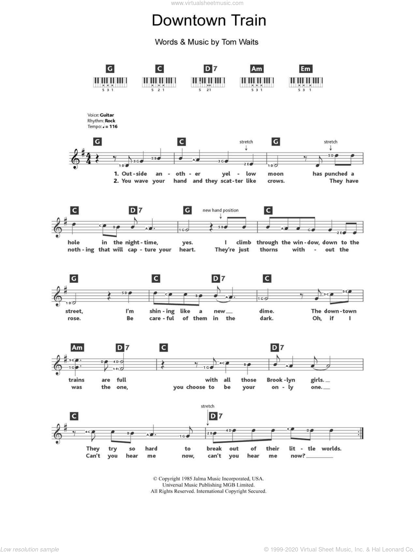 Waits - Downtown Train sheet music for piano solo (chords, lyrics ...