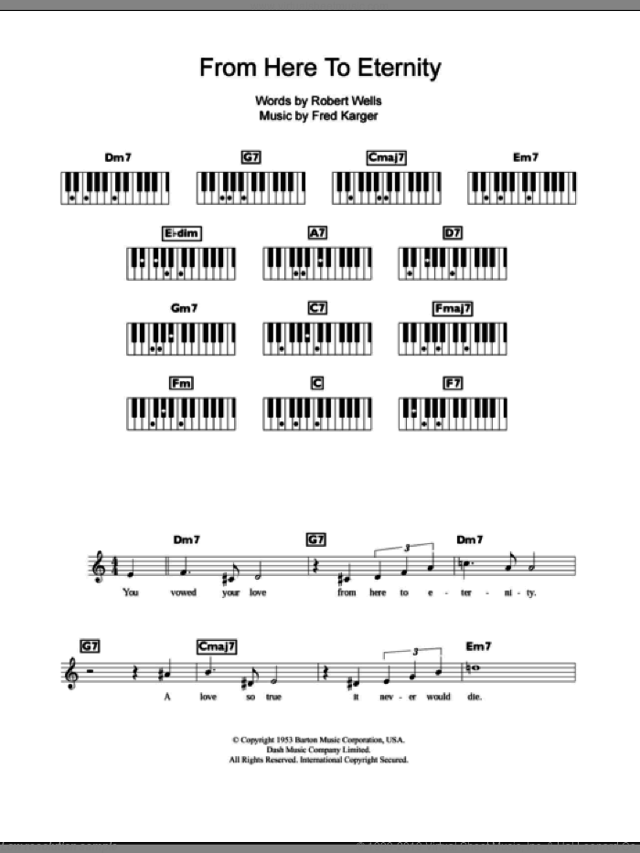 From Here To Eternity sheet music for piano solo (chords, lyrics, melody) by Frank Sinatra, Fred Karger and Robert Wells, intermediate piano (chords, lyrics, melody)