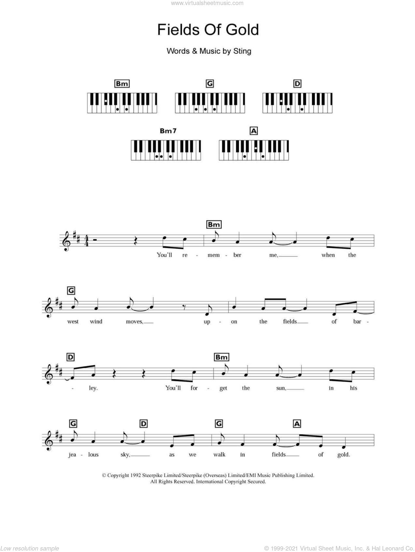 Fields Of Gold sheet music for piano solo (chords, lyrics, melody) by Sting and Eva Cassidy, intermediate piano (chords, lyrics, melody)