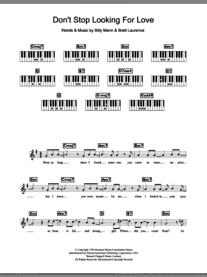 Don't Stop Looking For Love sheet music for piano solo (chords, lyrics, melody) by Brett Laurence, Boyzone and Billy Mann