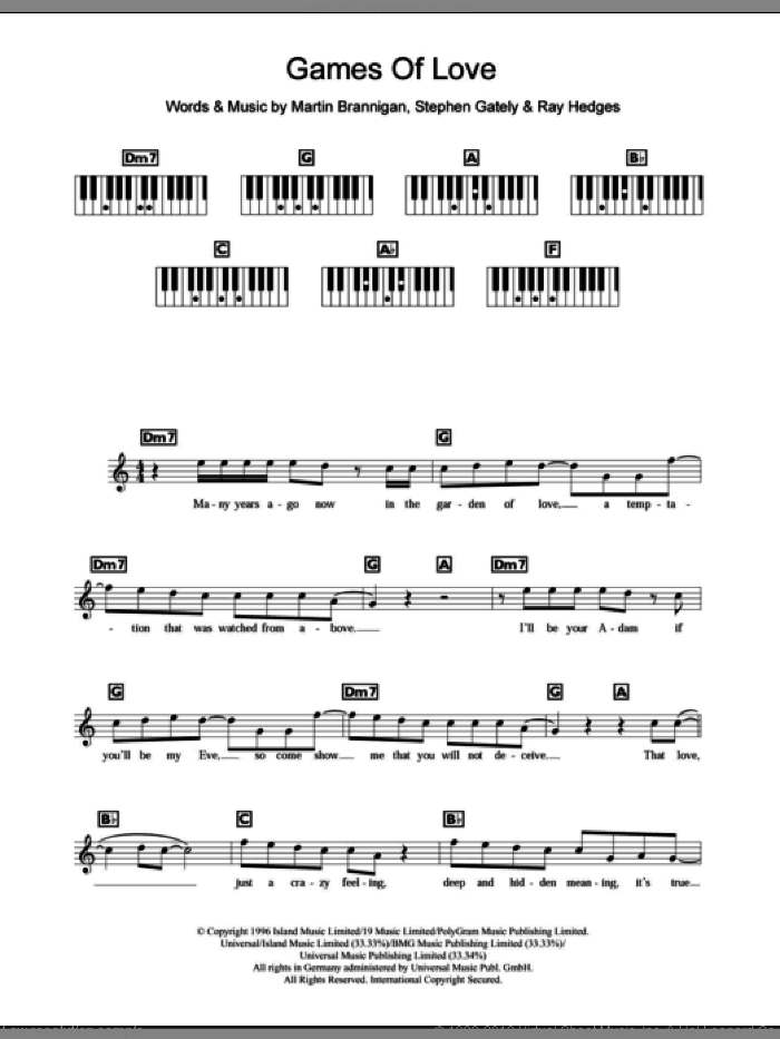 Games Of Love sheet music for piano solo (chords, lyrics, melody) by Stephen Gately