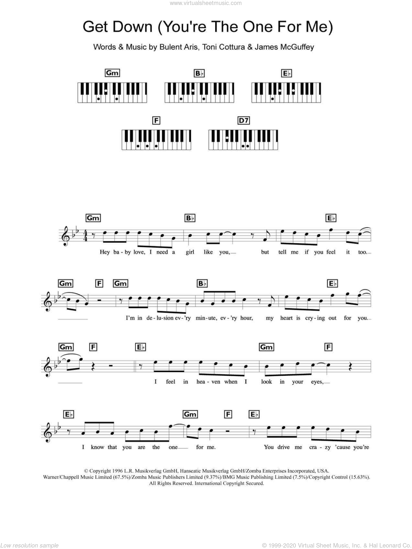 Get Down (You're The One For Me) sheet music for piano solo (chords, lyrics, melody) by Backstreet Boys, Bulent Aris, James McGuffey and Toni Cottura, intermediate piano (chords, lyrics, melody)